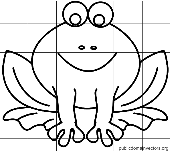 Line drawing of a frog with a 6x6 grid overlayed