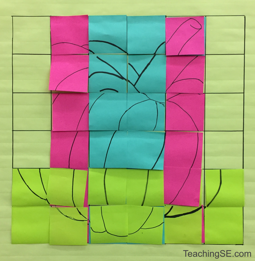 A 6x6 grid mostly overlayed with sections of colored post-its, a line drawing of a pumpkin
