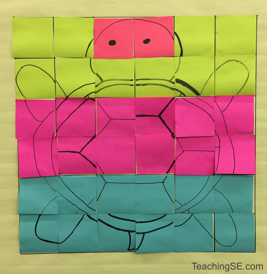 A 6x6 grid completely overlayed with post-its, a line drawing of a turtle.  The grid is evenly divided into 4 colored regions of pots-its