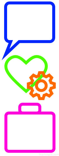 Speech bubble, heart and gear, and briefcase icons